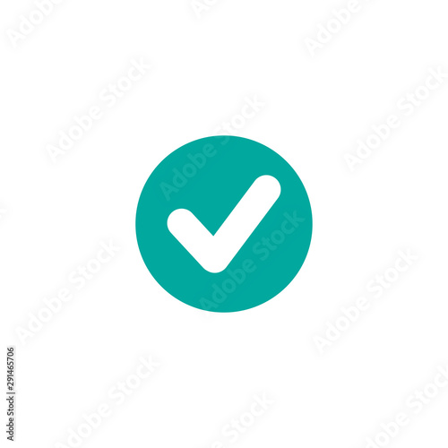 Obraz Check Mark. Valid Seal icon. white tick in blue circle. Flat OK sticker icon. Isolated on white. - fototapety do salonu