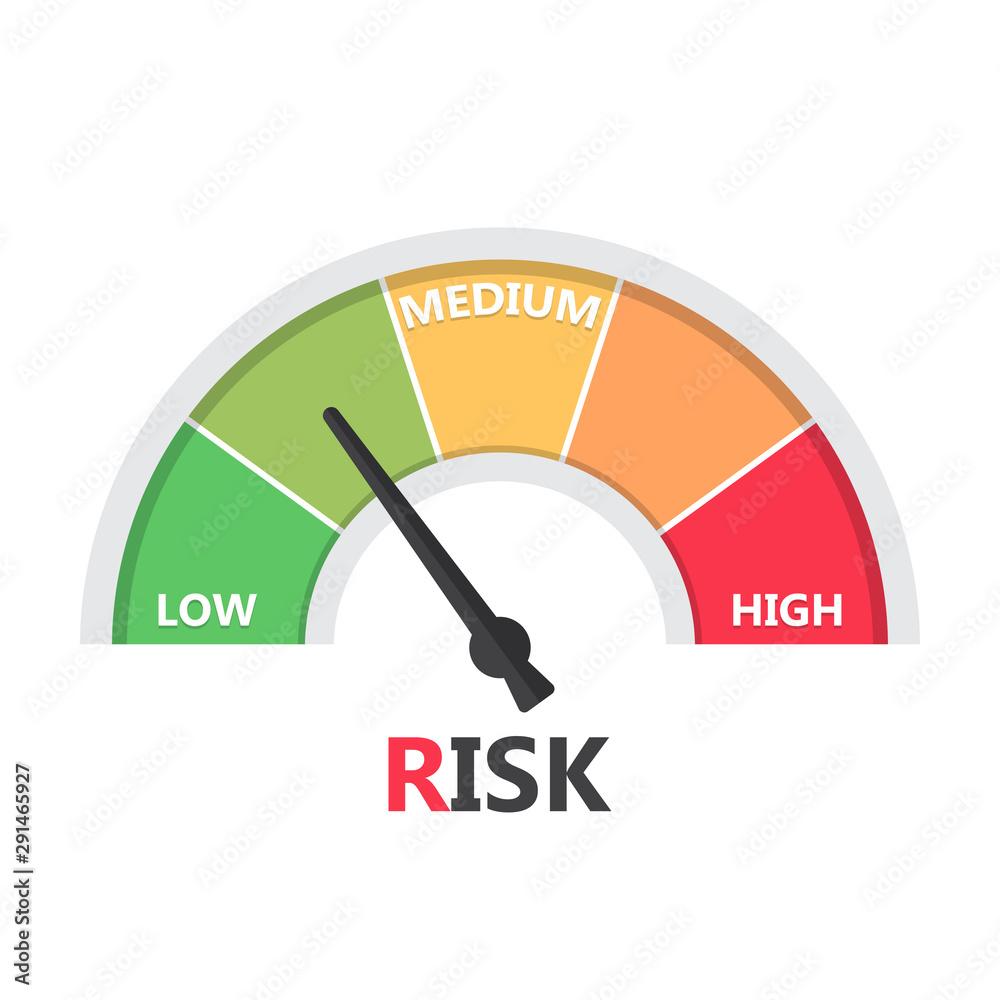 Fototapeta Gauge meter element with risk level in a flat design