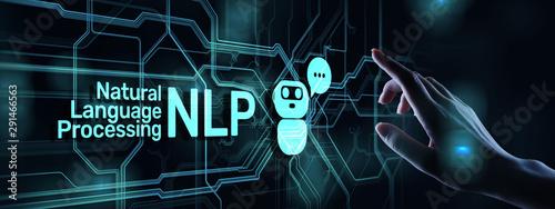 Obraz na plátně NLP natural language processing cognitive computing technology concept on virtual screen