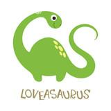Fototapeta Dinusie - Vector doodle of cute dinosaur