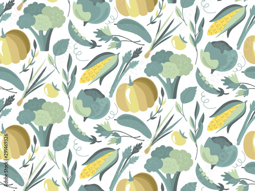 Türaufkleber Künstlich Vector seamless pattern with colorful fresh organic vegetables. Endless healthy food, vegan, farm natural background.