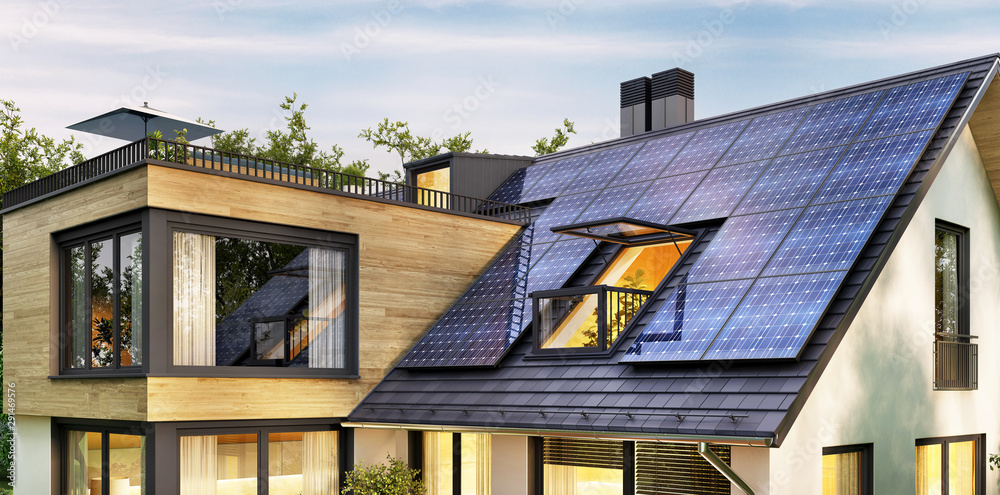 Fototapety, obrazy: Solar panels on the roof of a modern house