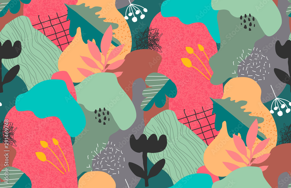 Vector colorful collage contemporary natural seamless pattern. Modern abstract shapes, hand drawn textures