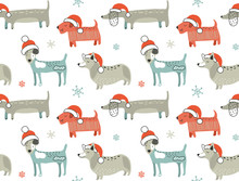 Christmas Seamless Pattern With Cute Cartoon Dogs In Santa Hats. Vector Illustration