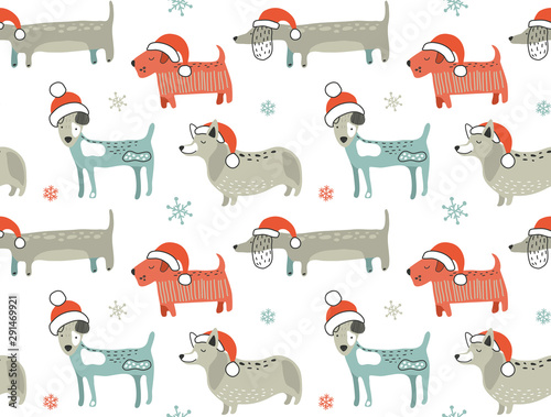 obraz lub plakat Christmas seamless pattern with cute cartoon dogs in Santa hats. Vector illustration