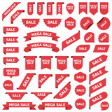 Big set of red stickers sale tags, labels and banners - 291470577