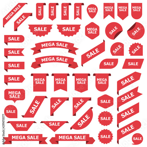 Big set of red stickers sale tags, labels and banners