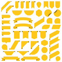 Set Of Yellow Blank Banners Ribbon. Tag, Label In A Flat Design