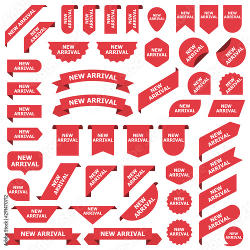 Photo Big set of red stickers new arrival tags, labels and banners