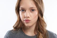 Charming Teen Girl Pouting Lip...