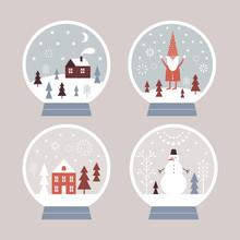 Snow Globes Set,  Snow Globe House, Snowman, Santa. Christmas Illustration