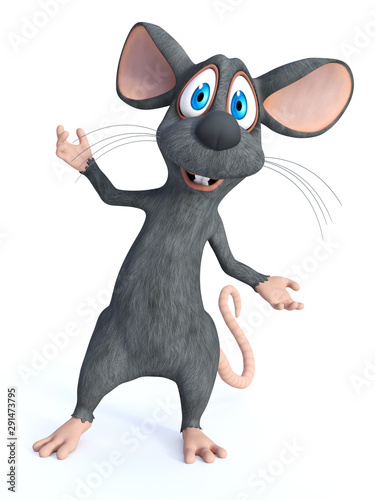 Fototapety, obrazy: 3D rendering of a smiling cartoon mouse welcoming you.