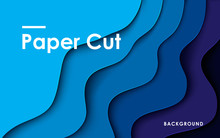 Modern Abstract Blue Paper Cut...