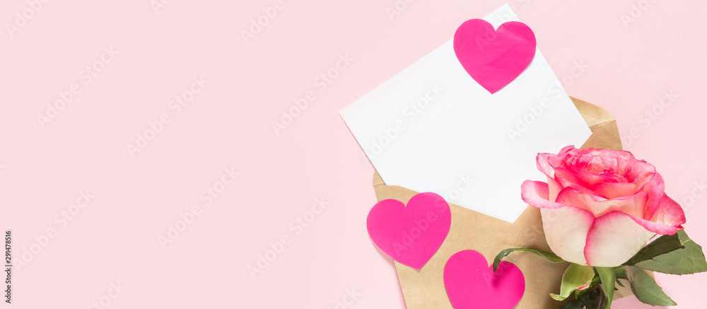 Fototapeta valentine's day rose heart with frame and copy space on pink festive background