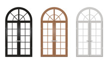 Wooden Vintage Arched Doors Set