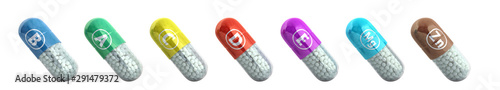 vitamins and minerals in capsules 3d render on white no shadow Fototapeta