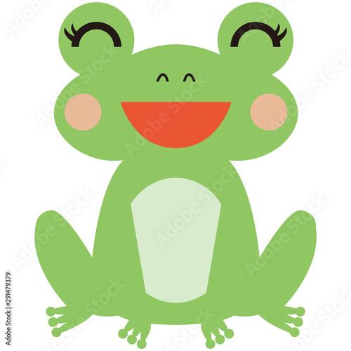Fotografie, Tablou  嬉しそうな女の子のカエル