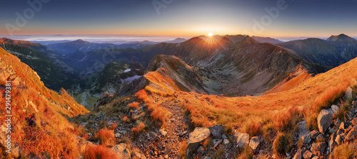 Deurstickers Landschappen Mountain sunset in Slovakia mountain - Rohace, Tatras panorama