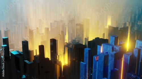 Foto auf Gartenposter Schokobraun Sci fi landscape night city glows with neon light tall cubes blocks grunge interior 3D rendering