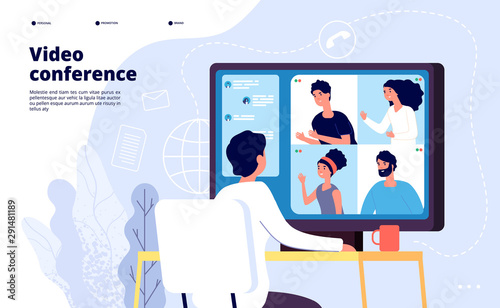 Obraz Video conference landing. People on computer screen taking with colleague. Videoconferencing and online meeting workspace vector page. Video conference online, business people illustration - fototapety do salonu