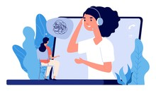 Psychological Counseling Concept. Vector Online Psychological Assistance Service Illustration. Online Psychotherapy, Counseling And Help