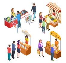 People Buy Food. Isometric Grocery Store And Farm Market. Food Queue Vector Illustration. Market Store, Food Grocery, Farm Shop