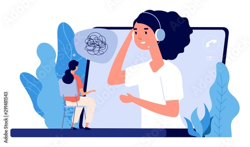 Fototapeta Psychological counseling concept. Vector online psychological assistance service illustration. Online psychotherapy, counseling and help obraz