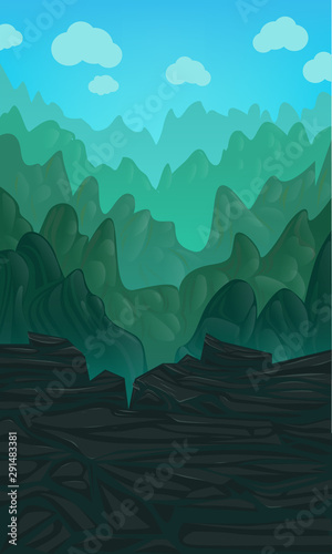 Foto auf AluDibond Licht blau Vector vertical illustration with green hills on a blue cloudy sky. Video Game Digital Artwork.
