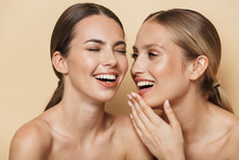 Optimistic Beautiful Blonde And Brunette Women Talking With Each Other Laughing.