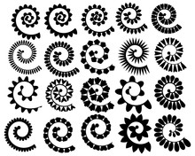 Set Rolled Flowers. Collection Rolled Paper Flower. Black White Vector Illustration For Scrapbooking. Plotter Cutting For Paper.