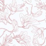 Kwiatowy wzór z magnolii. - 291487929