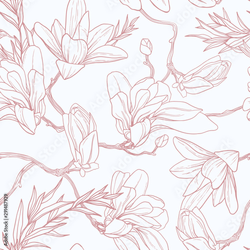 Seamless floral pattern with magnolia. - 291487929