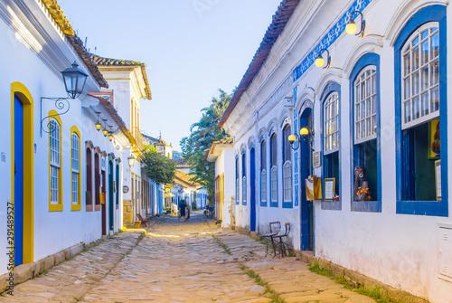 Street of historical center in Paraty, Rio de Janeiro, Brazil Canvas Print