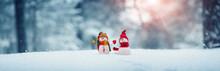 Little Snowmans On Soft Snow O...
