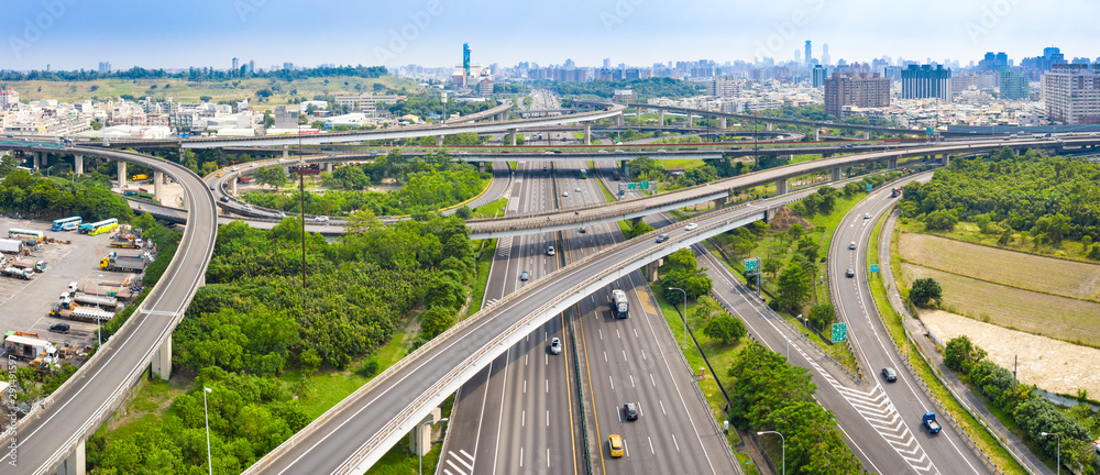 Fototapeta Aerial view of  freeway interchange in kaohsiung city. Taiwan