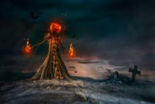Evil Scarecrow Halloween Terrifying Scene
