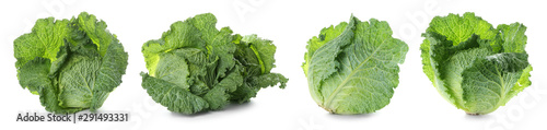 Photo  Set with savoy cabbage on white background