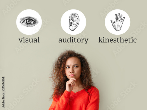 Photo Thoughtful young African-American woman and listed types of neuro-linguistic pro