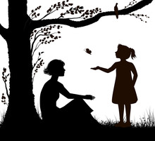 Mother And Daughter Silhouette, Young Woman Is Sitting Under The Tree And Girl Is Trying To Catch Butterfly, Family Scenein Hot Summer Day, Summer Memories, Black And White,