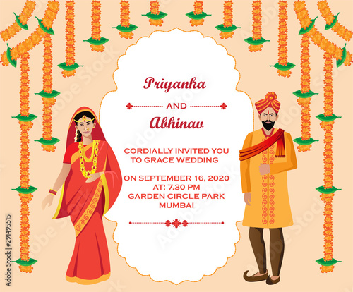 Indian Hindu Wedding Invitation Card Design Template Stock Vector Adobe Stock