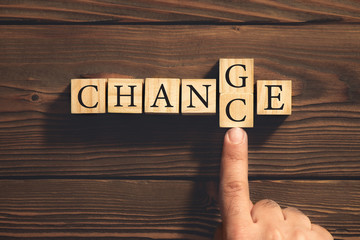 Change to Get Chance Concept with Wooden Blocks. Business and De