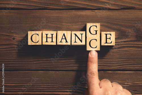 Change to Get Chance Concept with Wooden Blocks. Business and De Canvas Print