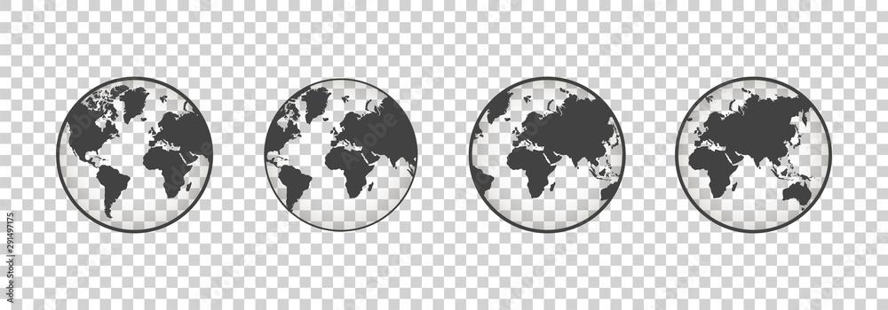 Fototapety, obrazy: Set of transparent globes. Earth transparent style. 3d icon with set transparent globes earth. Vector illustration