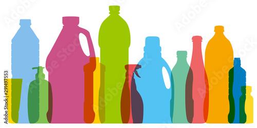 Fototapeta Concept de la pollution de l'environnement par une consommation de plastique non recyclé avec pour symbole différentes silhouettes alignées de bouteilles en couleurs. obraz