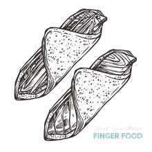 Canapes Finger Food. Vector Sketch Hand Drawn Illustration Of Appetizer With Salmon