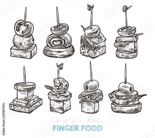 Fotografia Finger food vector sketch hand drawn illustration