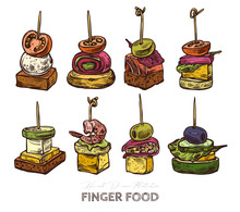 Finger Food, Set Of Tiny Canape On Skewers. Mini Sandwiches With Croutons, Olives, Cheese, Tomatoes. Restaurant, Cafe Snack, Appetizer. Vector Illustration In Flat Style, Hand Drawn Sketch