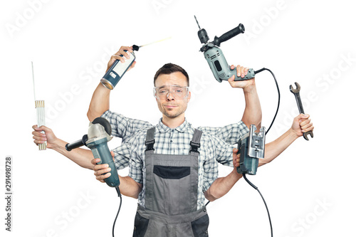 Obraz Funny portrait of a craftsman with 6 arms and tools - fototapety do salonu