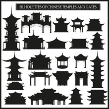 Set Of Vector Silhouettes Of Chinese Temples, Gates And Traditional Buildings.