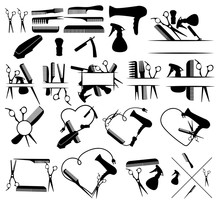 Set Of Logos And Elements For A Hairdrymaker. Collection Of Items For The Beauty Salon. Black White Illustration For Logos. Tattoo.